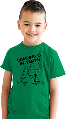 Crazy Dog Tshirts Youth Camping is In Tents T Shirt Funny Intense Camping Shirt Kids Tee (green) XL - jungen - XL (Mädchen-pfadfinder-verdienst-abzeichen)