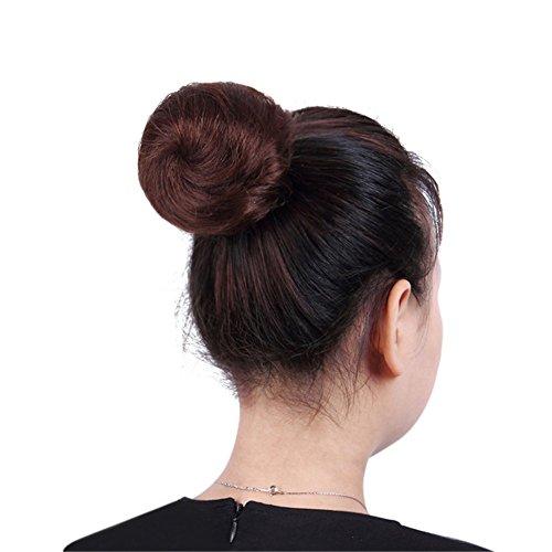 remeehi Echthaar Clip auf/in Messy Hair Bun Extension chignons Donut Haarteil ()