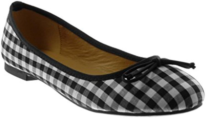 Angkorly Damen Schuhe Ballerina - Slip-on - Knoten - Vichy-Muster Blockabsatz 1 cm