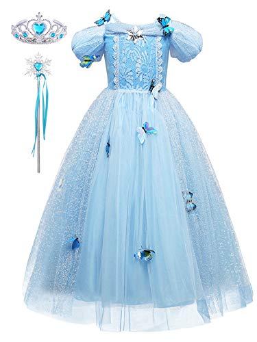FStory&Winyee Mädchen Prinzessin Kleid Kinder Cinderella Kostüm Schmetterlinge Verrrücktes Kleid für Karneval Cosplay Weihnachten Hochzeit Brautjungfer Partei Kostüm Set Krone und Zauberstab Geschenk