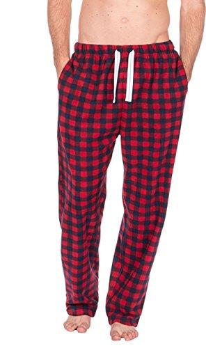 Herren kariert Polar fleece Loungewear Pyjama Hose Hose - rot kariert, X-Large (Rot Pyjama Kariertes)