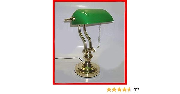 Lampada Da Tavolo Ministeriale Vetro Verde In Ottone  2021