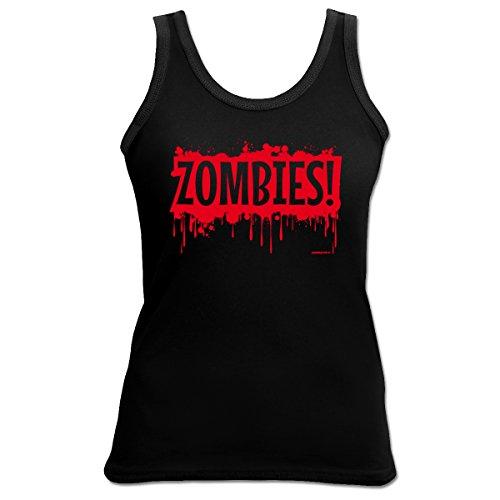 Halloween Damen TankTop <->          Zombies!          <->           gruseliges Fun Geschenk, Goodman Design Schwarz Schwarz