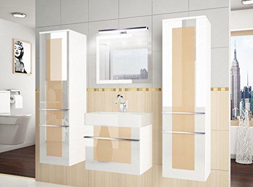 NEU Design Badmöbel Set ELEGANZA V 50 cm mit Waschbecken/verschiedene Farben LED (Creme / Weiss)