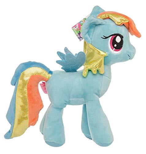 Meine kleinen Ponys My Little Pony Plüschtier Kuscheltiere für Kinder, Mädchen, Glitzermähne Glitzerflügel 27 cm Rainbow Dash (Blau)