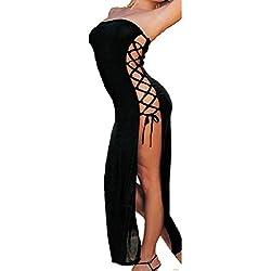 ❤️Lencería Sexy De mujer Vestido largo sexy de mujer atractivo Ropa de dormir ropa interior de tentación de especia Para Mujeres Amlaiworld (Negro, M)