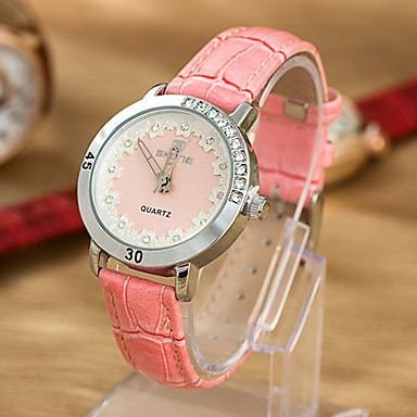 WeShop® - Women'S Water-Resistant Leather Band Quartz Analog Dress Watch Pink