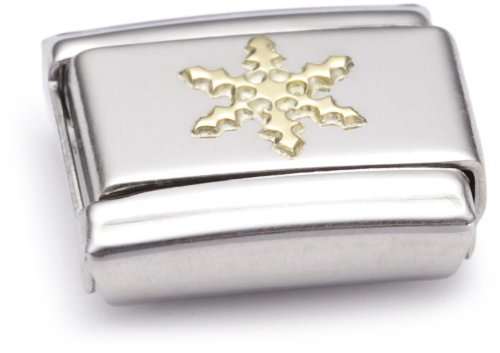 Nomination Composable Classic Daily Life Snow Flake Stainless Steel and 18K Gold