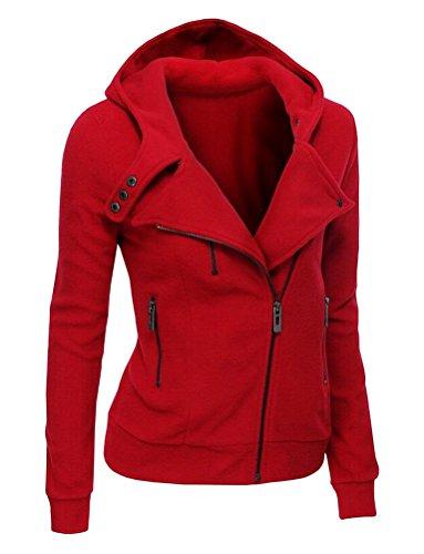 SMITHROAD Damen Sweatjacke mit Kapuze Revers Kragen Kapuzenpullover mit Schrägem Reißverschluss Zip Hoodie Herbst Rot