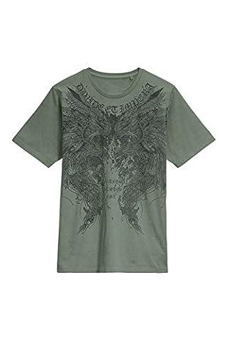 next T-Shirt Avec Motif Aigle Délavé À L'Acide Standard Vert Small