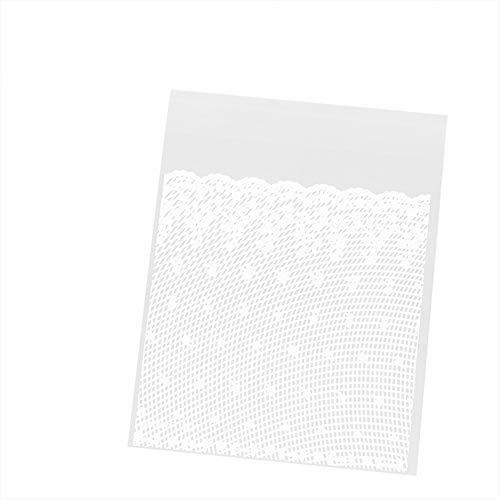 Westeng 100 Stück Weiße Spitze Süßigkeiten Tasche Selbstklebend Plätzchen Bonbons Tüten Flachbeutel Gebäck Geschenk Tüten für Weihnachten Danksagung