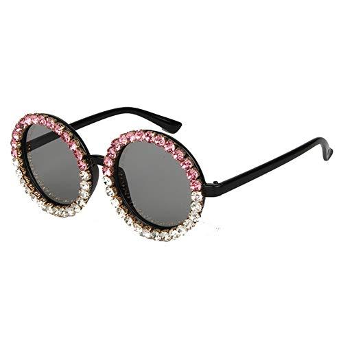 Taiyangcheng Polarisierte Sonnenbrille Runde Sonnenbrille Frauen Vintage schwarz kristall Mix Strass Sonnenbrille für Kinder kleine Sonnenbrille uv400,A2