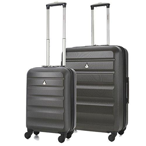 Aerolite - Set di 2 Trolley in ABS - Valigie rigide e leggere con 4 ruote (Cabina + Medio) - bagaglio a mano ideale per Ryanair, EasyJet e WizzAir e altre. Garanzia Aerolite.