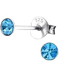 Laimons Pendientes para mujer Brillante redondo Azul Plata de ley 925