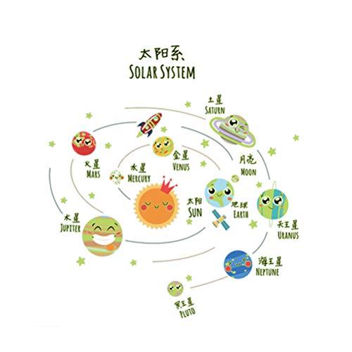 Vosarea Luminous Solar System Wandtattoos Wandaufkleber Glühen in den dunklen Planeten Wallpaper für Kinderzimmer Kindergarten