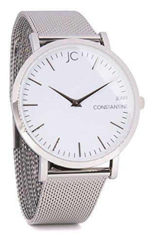 Jean Constantine 'Grace' Armbanduhr für Damen und Herren mit Saphirglas | Wasserdicht bis 5 bar | mit Ronda Uhrwerk | Milanese- / Mesh-Armband | Silber / Weiß