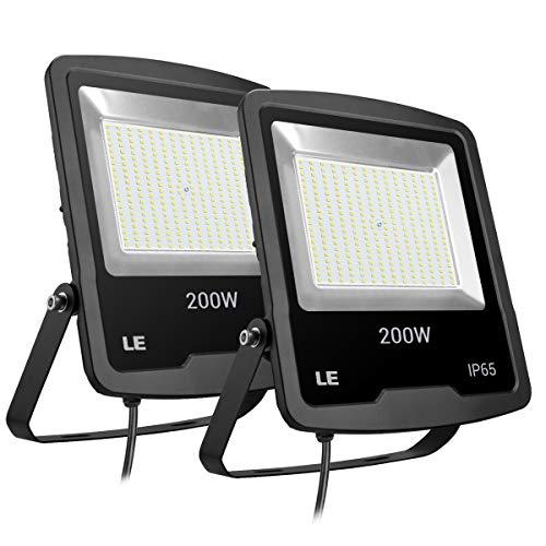 LE Lighting EVER 200W Projecteur LED Etanche Antichoc, 16000 LM, Blanc Froid, Eclairage pour Mur, Magasin, Parc etc, Lot de 2