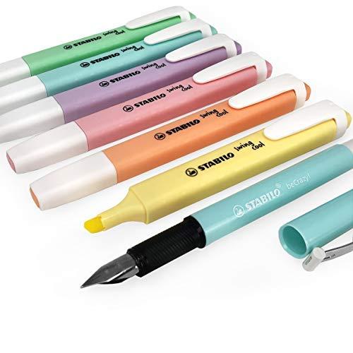 Stabilo swing cool evidenziatori pastelli pennarelli–set completo di 6+ becrazy penna stilografica–pastello turchese barile