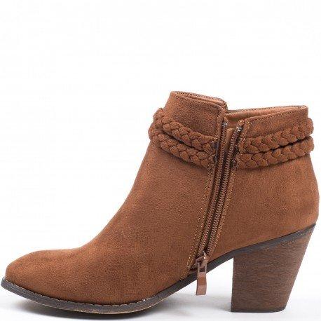 Ideal Shoes - Bottines à talon épais effet daim avec ceinturon tressé Tallula Camel