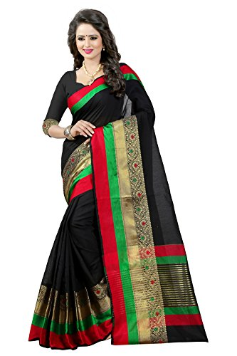 J B Fashion Women's Cotton Silk Saree With Blouse Piece (Sarees For Women-Gauri Wel Black_Black)  available at amazon for Rs.1219