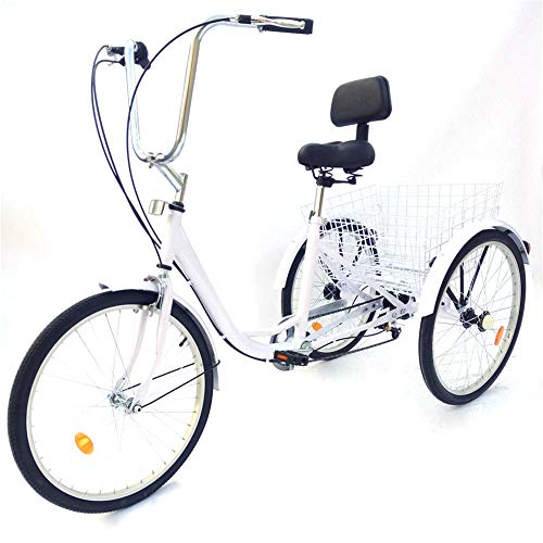 """24\"""" 6 Gänge Dreirad für Erwachsene Erwachsenendreirad Senioren Tricycle mit Korb"""