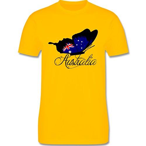 Kontinente - Schmetterling Australia - Herren Premium T-Shirt Gelb