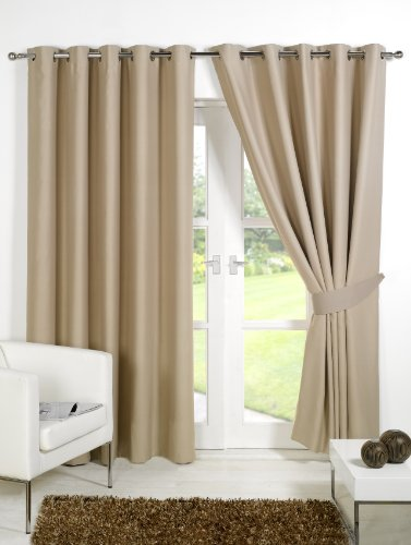 Pair of BEIGE 66″ Width x 90″ Drop , Supersoft Thermal Blackout EYELET / RING TOP Curtains Including Pair of Matching Tie Backs, 'Winter Warm but Summer Cool' by VICEROY BEDDING