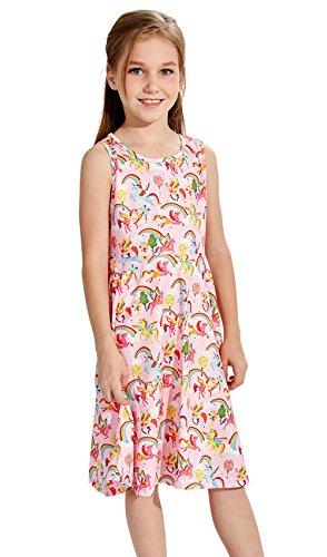 Swing Kleid Einhorn Gedruckt Cartoon-Muster Ärmelloses Kleid (Mädchen Swing-kleid)