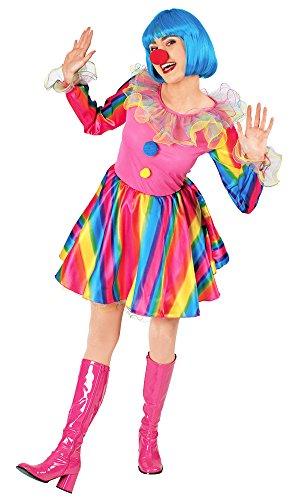 Regenbogen Clown Juliette Kostüm für Damen - Gr. 40 42 - Erwachsene Clown-kostüm