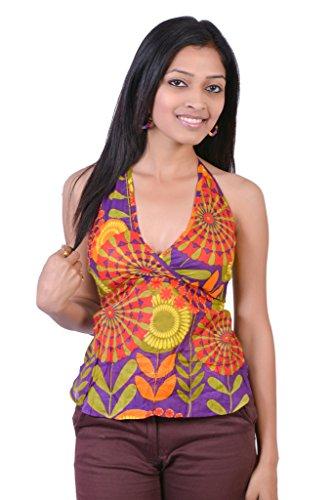 Jaipur Kala Kendra Women's Cotton Beachwear Printed Tank Top Casual Wear Top Medium Purple