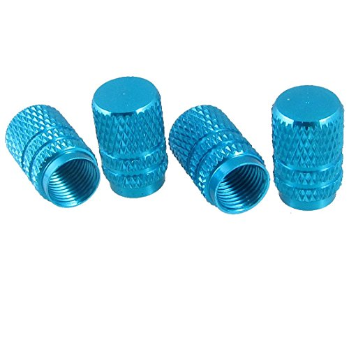 4 PC-Reparatur-Teile Teal blau-Legierung Reifen-Gummireifen Ventilkappen für Auto (Teal Teil)