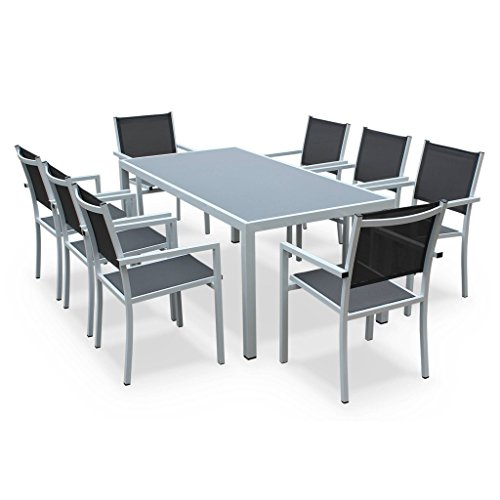 Alice's Garden Salon de jardin en aluminium et textilène - Capua 180cm - Blanc, gris - 8 places - 1 grande table rectangulaire, 8 fauteuils empilables