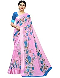Anni Designer Women's Pink Color Linen Cotton Satin Patta Flower Printed Saree With Blouse Piece (SASMITA Light PINK_Free Size)