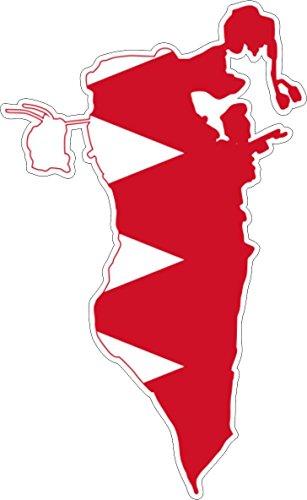 Akachafactory Selbstklebend Wandtattoo Sticker, Auto Vinyl Flagge Karte Bahrain - Von Bahrain Karte