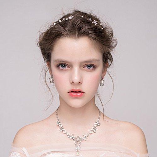 Dayiss Süß Braut Haarschmuck Blumen Diademe mit Kristall Perlen Hochzeit Vintage Silber und Gold (Silber) - 3