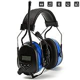 PROTEAR Gehörschutz mit Bluetooth&Radio AM/FM, Boom Mikrofon Gehörschutzer,für Industrie,BAU und Mähen Lärmreduzierung,SNR 30dB (Blau)