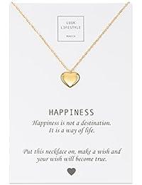 LUUK LIFESTYLE Joya de mujer, tarjeta de regalo, gargantilla con colgante de corazón y cita «Happiness», amuleto, rosé, plata o oro