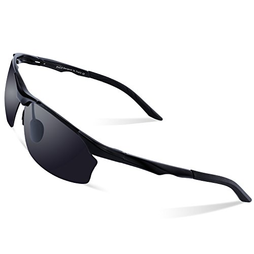 DUCO Polarisierte Sonnenbrille Herren für Radfahren Angeln Golf Unzerbrechlich 8513S Schwarz Rahmen Grau Linse