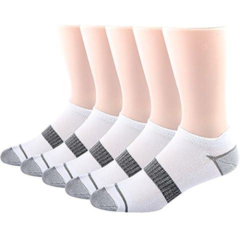 RioRiva Chaussette Homme Liner Ankle Socquette Sportive Décontracté Chaussette Grande Taille blanc Tennis (EU 39-45/US 6-11, MSK78+1-lot de 5p)