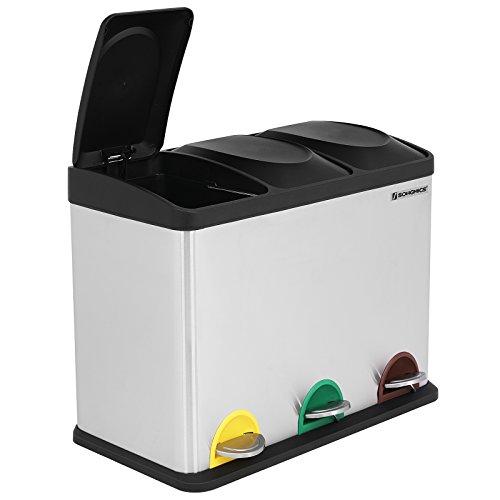 Songmics cubo de basura de acero inoxidable basurero for Ikea bidoni differenziata