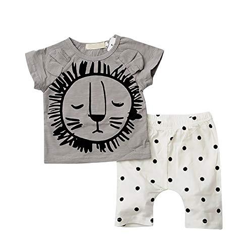 Baby Kleinkind Lion Sommerkleidung Set für Jungen, T-Shirt und Shorts 2 Stück Outfit (Kostüm Lion Neugeborene)