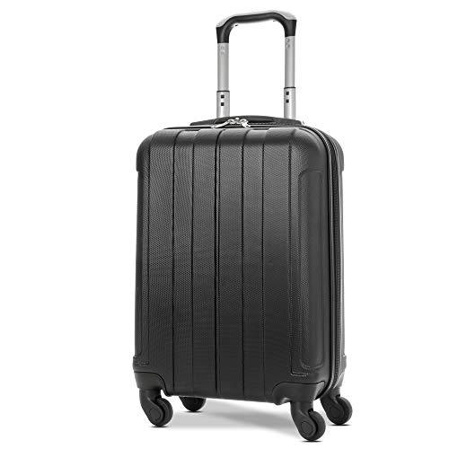EONO Essentials ABS Maleta Equipaje de Mano Cabina rígida Ligera con 4 Ruedas, 55cm, aprobado para ryanair, easyjet, Vueling, Iberia, Lufthansa, Eurowings y muchos otros, Negro
