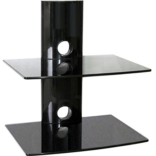 Multimedia Rack DVD HiFi Media Konsole WANDHALTERUNG Wandregal mit Zwei Glas-Ablagen (15kg pro Ablage) und Kabelmanagement-System -