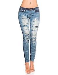 Blanco Store - Jeans Donna Stretch Pantaloni Denim Con Strappi Doppio  Strato Anteriore c3c05118801