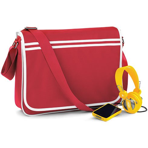 BAGBASE FUNKY RETRO MESSENGER BAG (4 COLS) (CLASSIC RED/WHITE) (Ugg Rucksack)