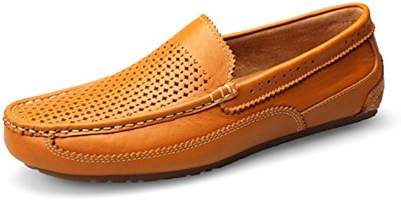 Malla Zapatos De Conducción Cuero Ocasionales De Hombres Marrón Zapatos De Barco