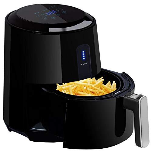Heißluftfritteuse 1300W, POSAME 8 in 1 Heissluft Fritteuse ohne Fett, Airfryer Smart Fryer ohne Öl mit 2,6L Entnehmbarer Korb, Digital Touch Display, 60 Min Timer und Auto-OFF Funktion in Schwarz -