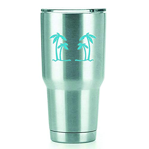 KCD Palm Trees Vinyl Decals Stickers (2 Pack!!!) | Yeti Tumbler Cup Ozark Trail RTIC Orca | Decals Only! Cup not Included! | 2-4 X 2.5 inch Light Blue Decals | KCD1554LBL -