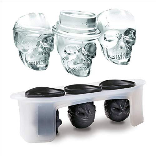 PUTTL Creative Skull Lebensmittelkontakt Flexible Silicone Ice Cube Maker Ice Cube Form Tray One Set of 3Different Detailded Skull Shapes (Black)
