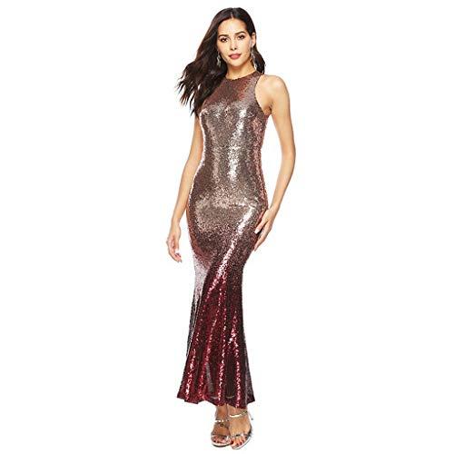 AQUYY Damen Abendkleid, Mode Sexy Sleeveless Lange Pailletten Glänzendes Kleid Mermaid Ball Party Formales Cocktailkleid Mermaid Ball